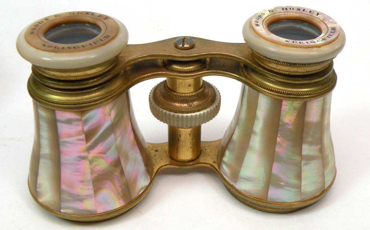 Old L H FORCE Mother of Pearl Opera Glasses w/ Case