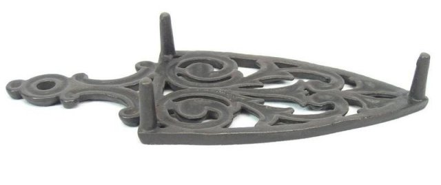 Antique Spade Cathedral Style Cast Iron Trivet Stand