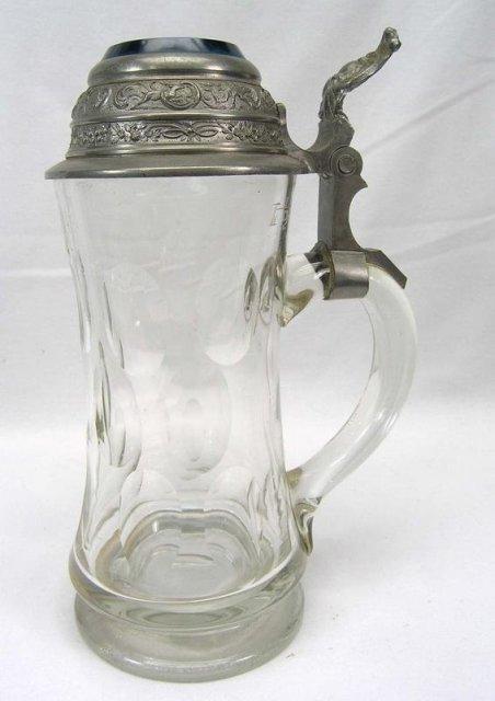 Cut Glass Beer Stein Pewter & Blue Glass Lid Enamel