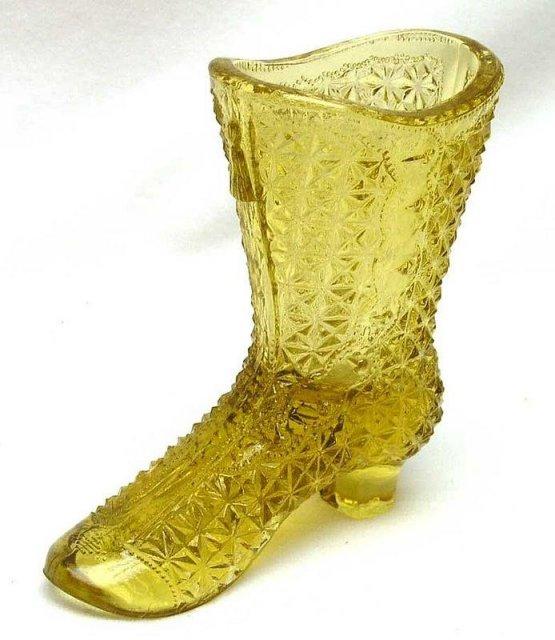 Mosser Glass Co. Amber Fine Cut Glass Boot