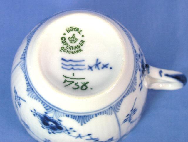Royal Copenhagen BLUE FLUTED HALF LACE Cup & Saucer 756