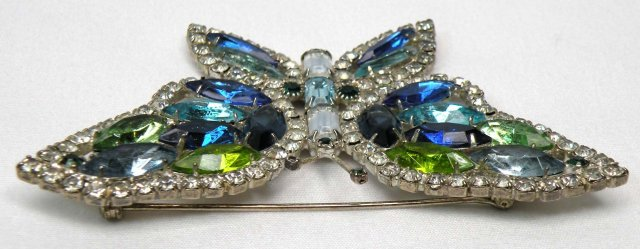 Signed KENNETH LANE Rhinestone BUTTERFLY Brooch Pin