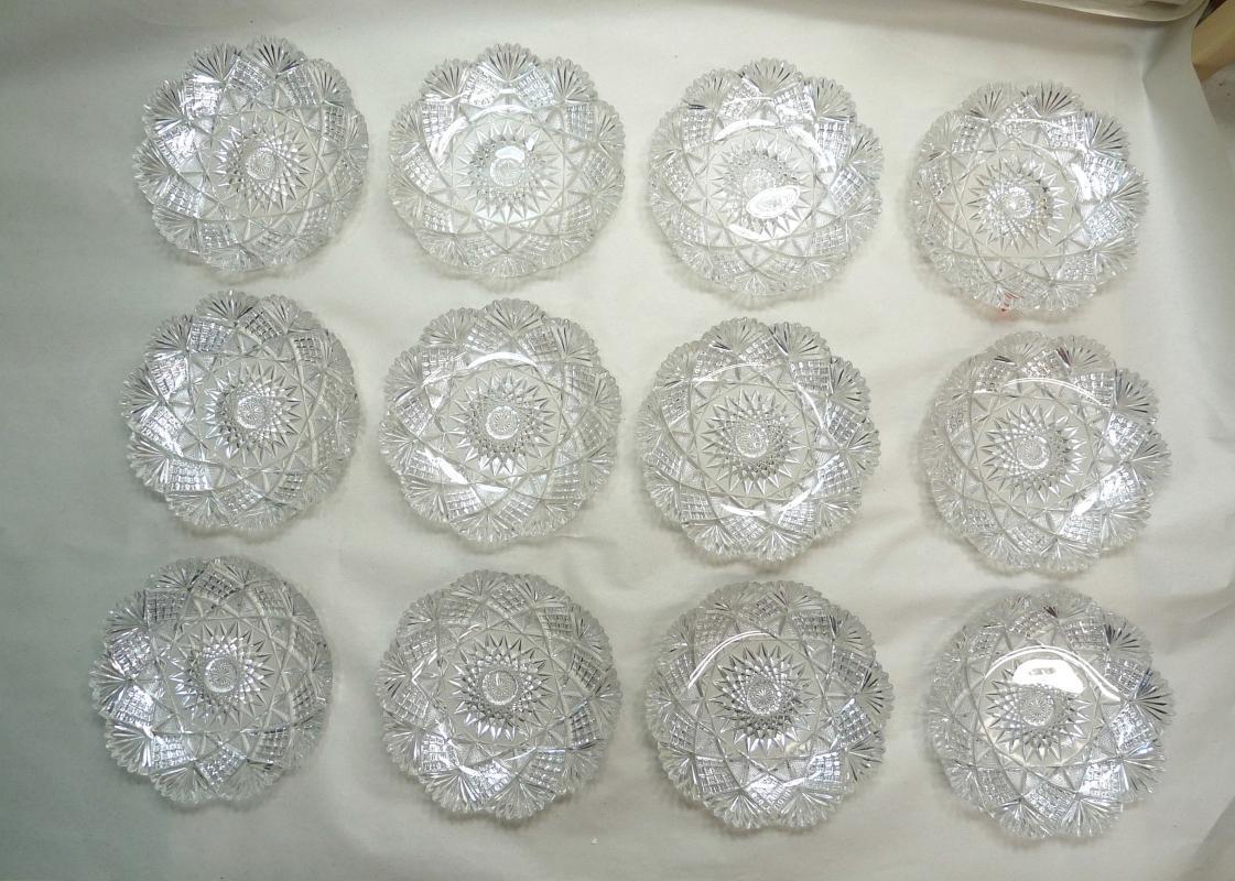 ABP Victorian American Brilliant Cut Glass 13 Piece Ice Cream Set (Tray + 12 Plates)