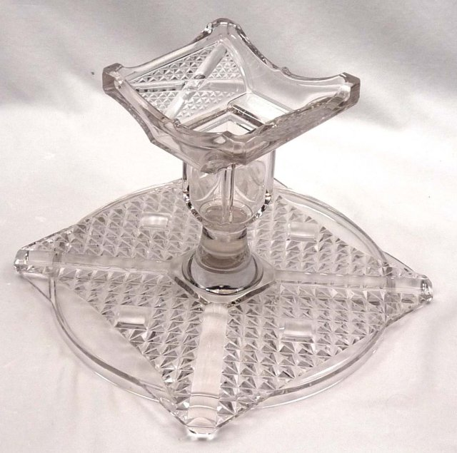 EAPG ASHMAN CROSSROADS ETCHED FERN Cake Stand c. 1886