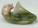 Old German 2 PINK PIGS with Phonograph Horn  Dish