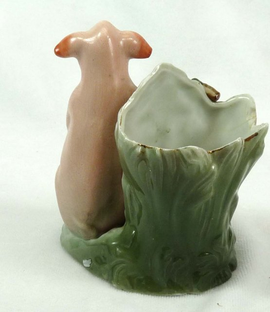 Old German Porcelain PINK PIG Toothpick Holder w/ Face