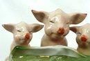 Old German Porcelain 3 PINK PIGS Trough Open Salt
