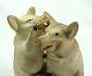Old German Bisque 2 pink PIGS Sitting on Cup Whispering