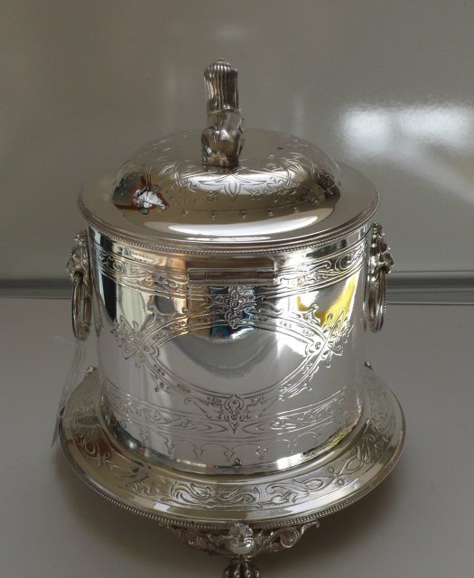 Victorian Silver Plate Biscuit Box