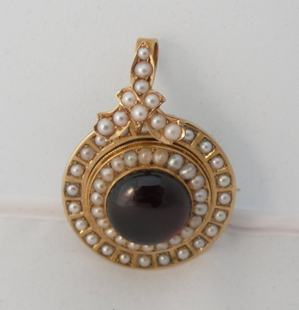 Victorian 15 Kt. Gold & Pearl & Cabochon Garnet Brooch and Pendent
