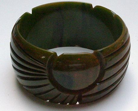 Bakelite Wide Marbelized Green Bangle