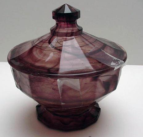Davidson's Cloud Glass Mauve Covered Candy Dish