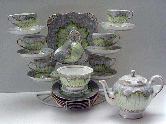 English Tuscan China Tea Service for 8 with