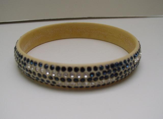 Celluloid blue and clear rhinestone Deco Bangle
