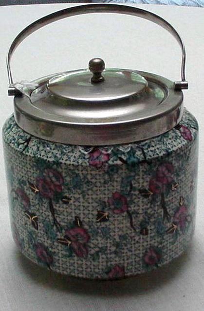 Victorian Chintz Biscuit Barrel/Silver Plated