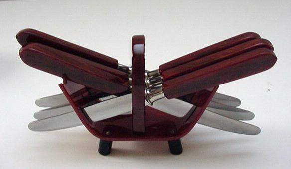 Bakelite set of German  Solingen Fruit knives and holder