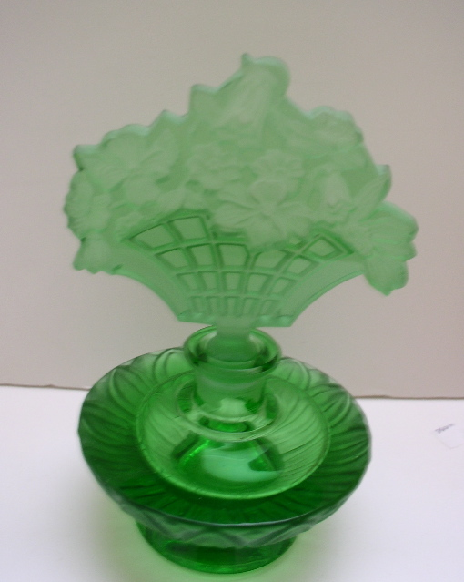 Czech Vintage Green Perfume Bottle