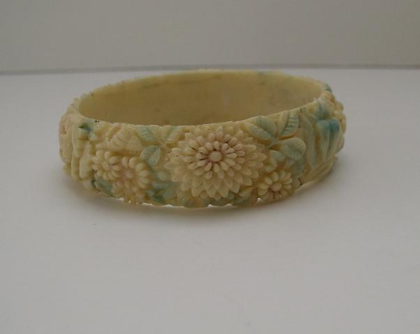 Celluloid vintage floral bangle