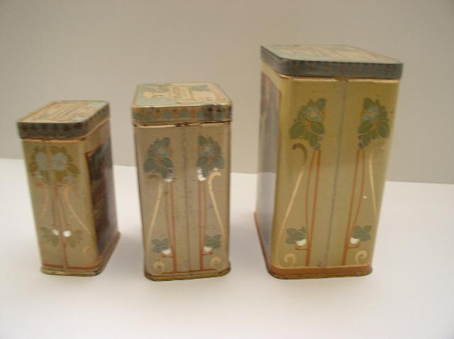 Three Delightful French Art Nouveau Tea Tins