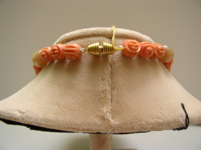 Vintage Carved Coral Colored Celluloid and Taupe