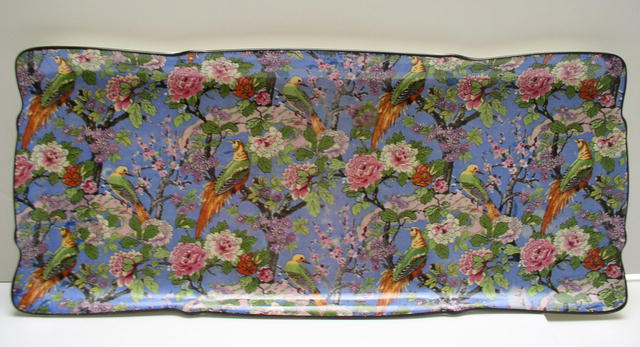 Crown Ducal  Blue Chintz Tray with Candlesticks