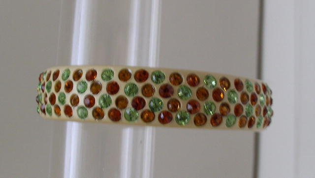 Celluloid Deco multicolored rhinestone bracelet