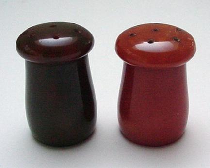 Bakelite Mushroom Salt and Pepper