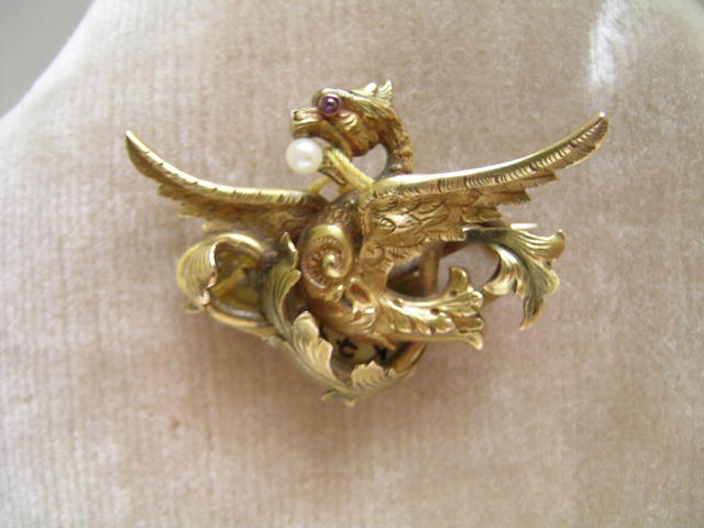 French Antique 18 Ct. Griffin Brooch