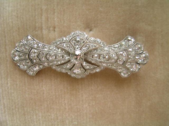 English Edwardian Diamond/platinum Brooch