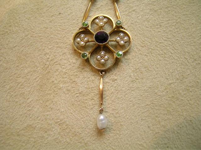 Victorian Suffragette Gold Pendant Necklace