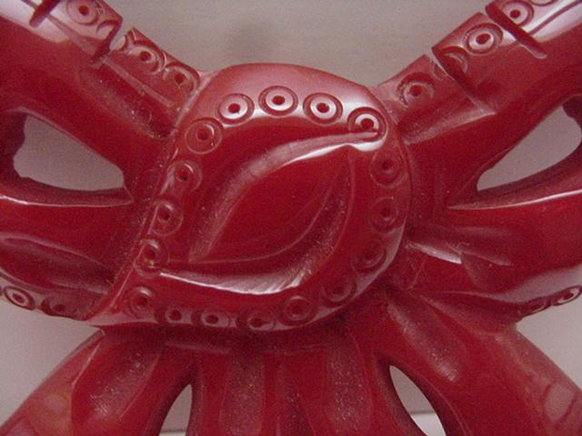 Bakelite Vintage Large Red Carved Bow Brooch