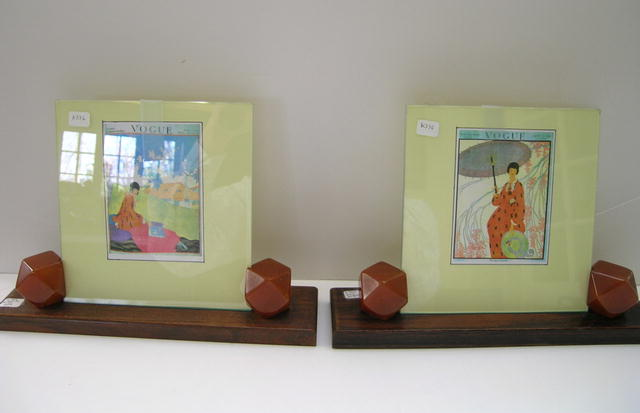 Pair of English Deco Bakelite and Wood Frames