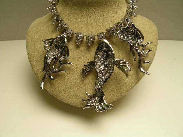Fabulous Crystal fish Necklace on Sterling