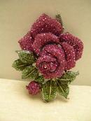 Fabulous Crystal Big Red Rose Brooch