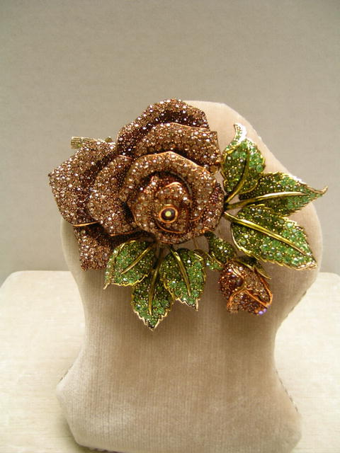 Fabulous Crystal Big Amber Rose Brooch