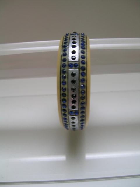 Celluloid Deco Blue Black and Platinum Bangle