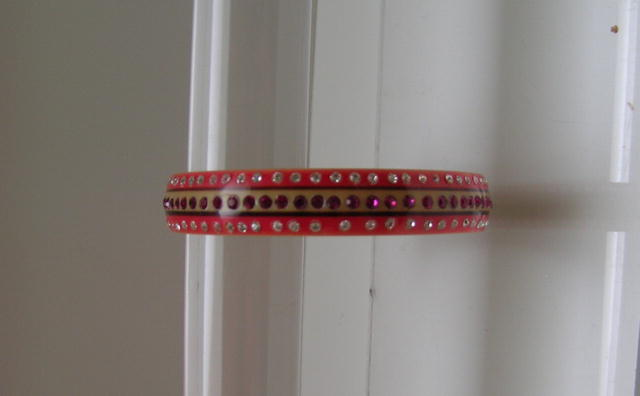 Celluloid Bangle:Pink and Cream with white