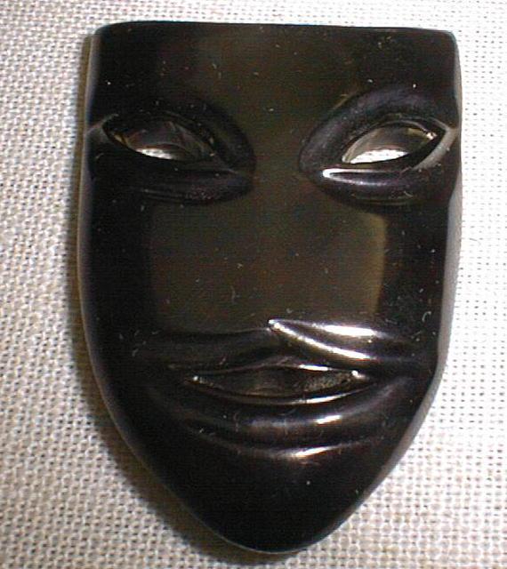 Bakelite Black Drama Mask Brooch