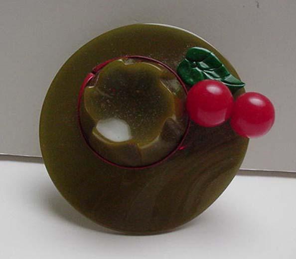 Bakelite Green Hat with Red Cherries Pin