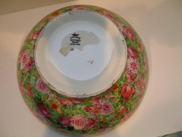 Crown Ducal Pink Chintz Large Bowl