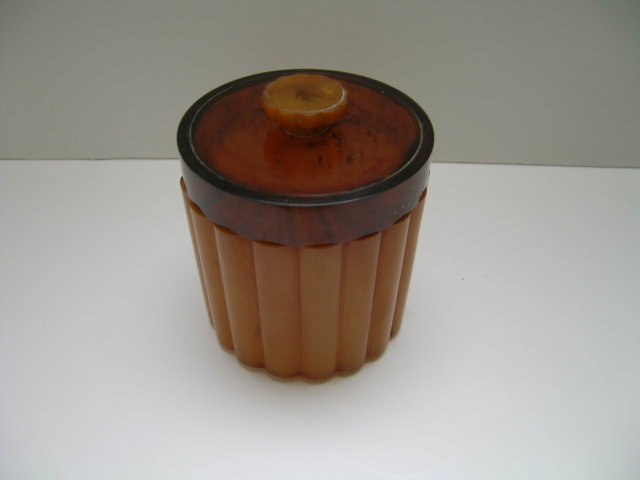 Bakelite Butterscotch Deco Ribbed Box