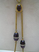 Victorian gold tone  amethyst and crystal