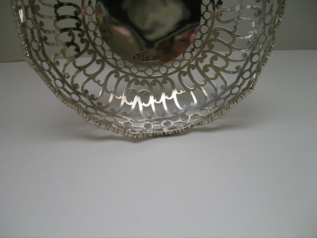 English Sterling Silver Pierced Pair of Tazzas