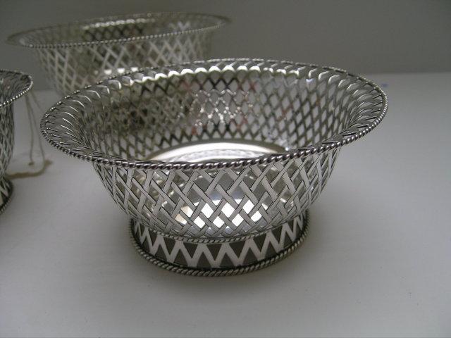 English Sterling Pierced Set 3 Serving Bowls