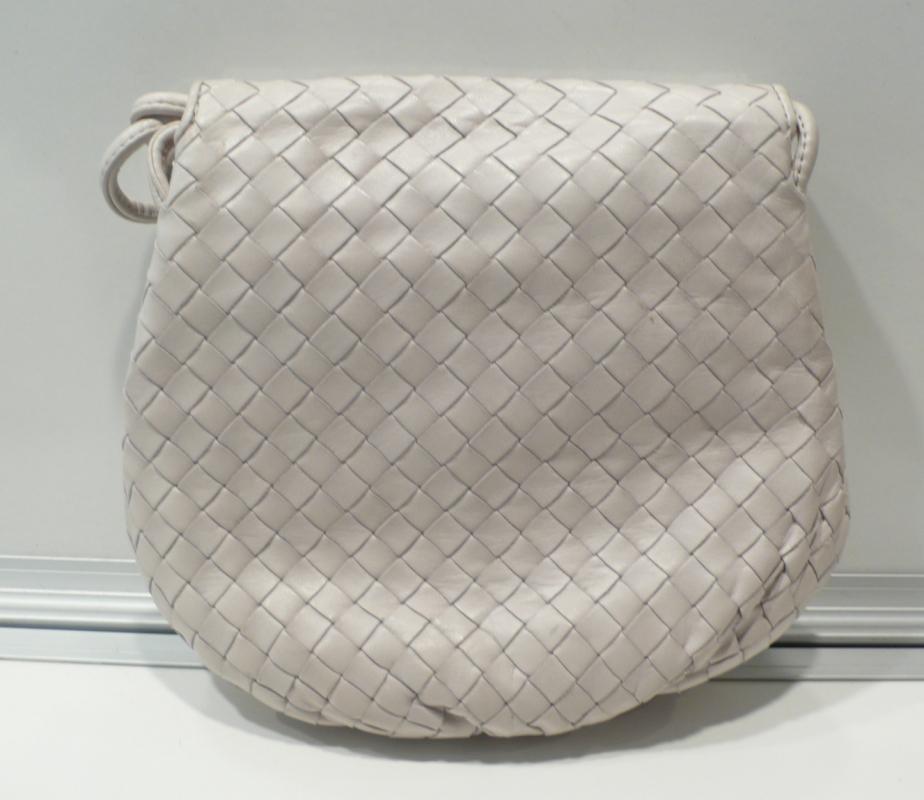 Bottega Veneta White Woven Leather Shoulder Bag