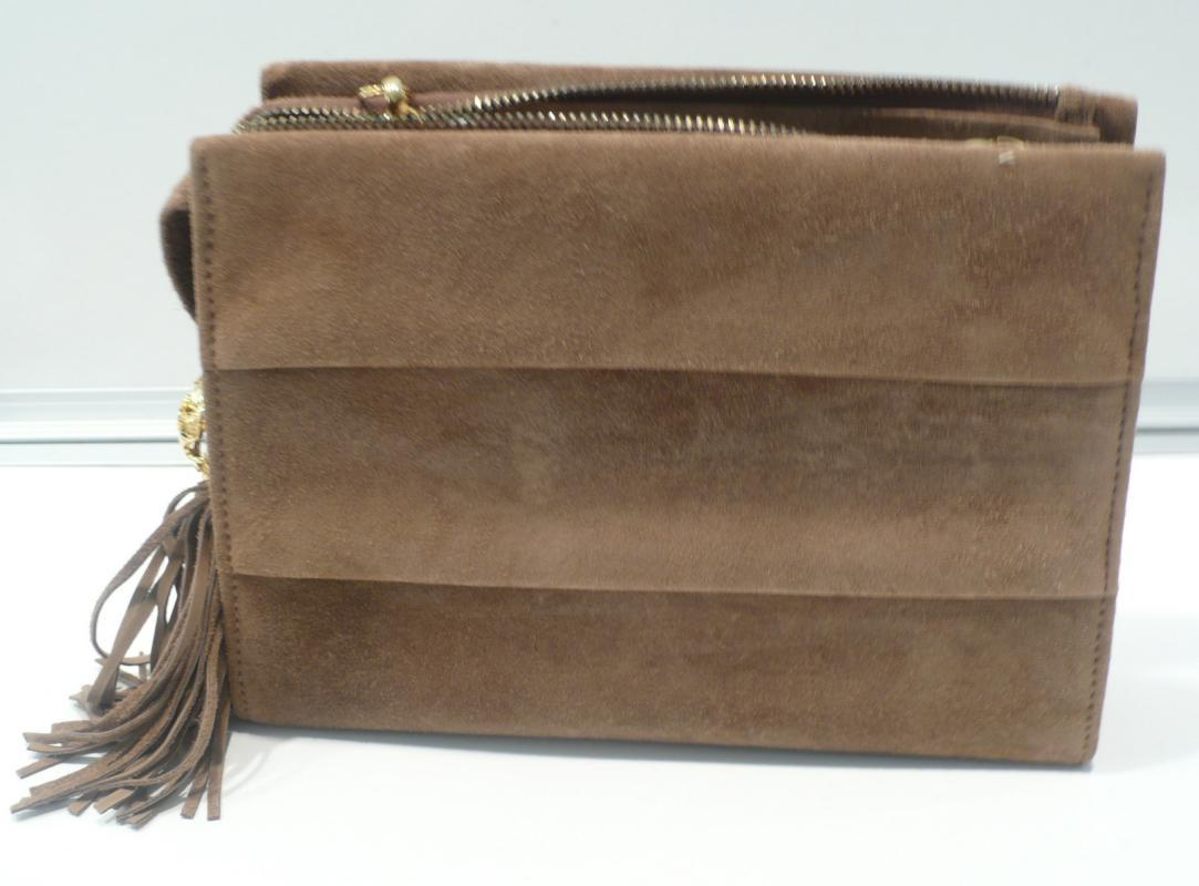 Ferragamo Taupe Suede With Gold Chain Shoulder Bag