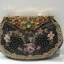 Black Satin Bejeweled Evening Bag