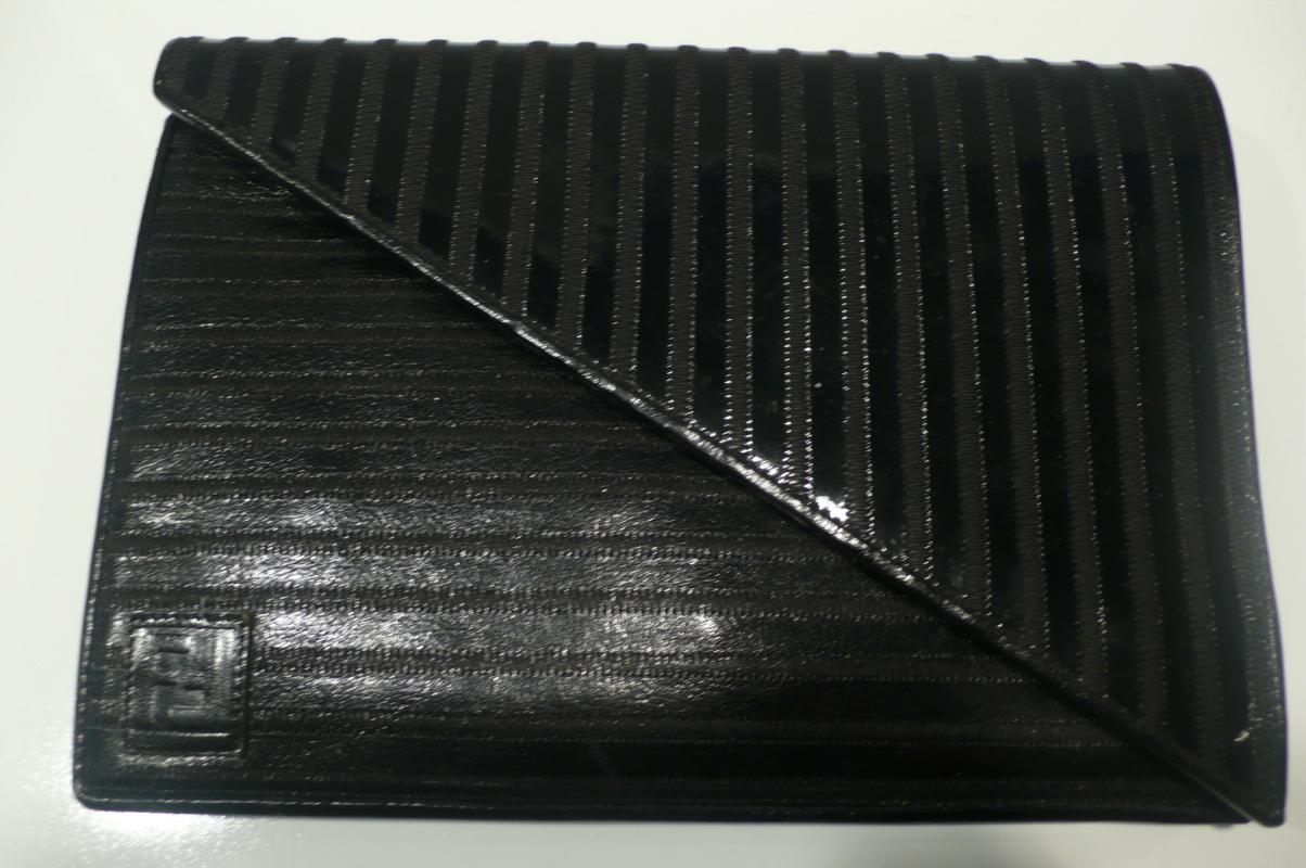 Fendi Black Patent Leather Clutch with Strap