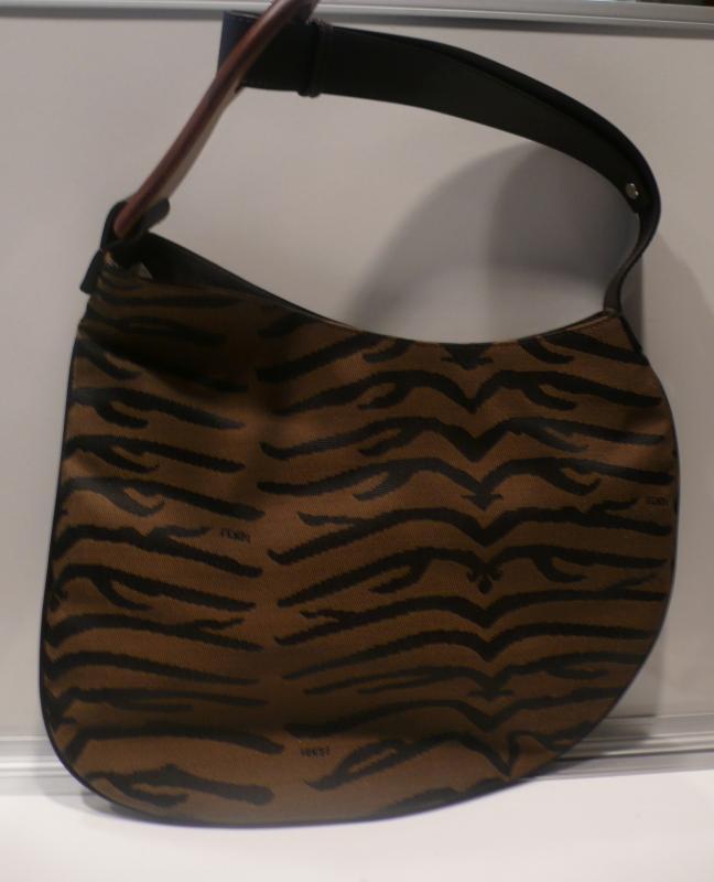 Fendi Fabric & Wood Shoulder Bag