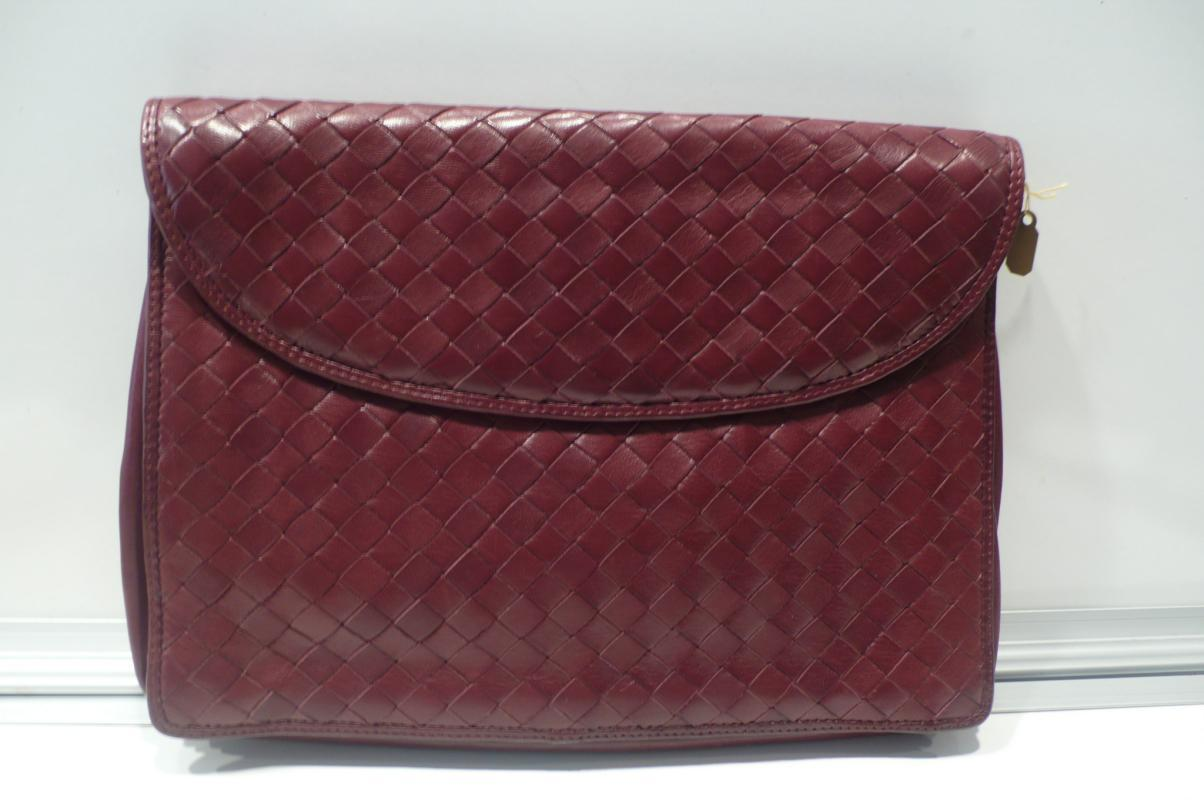 Bottega Veneta Burgundy Woven Clutch & Handbag